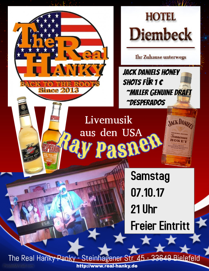 Ich spiele Samstag 07.10.2017 bei The Real Hanky (Hanky Panky) in Bielefeld! It's American night with Miller Genuine Draft, Desperados (regular price) and... Jack Daniels Tennessee Honey shots only 1 Euro! Freier Eintritt and great American food, drinks and atmosphere!