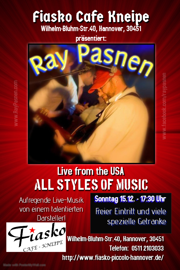 Ray Pasnen Live Im Fiasko Hannover 15.12. 17:30